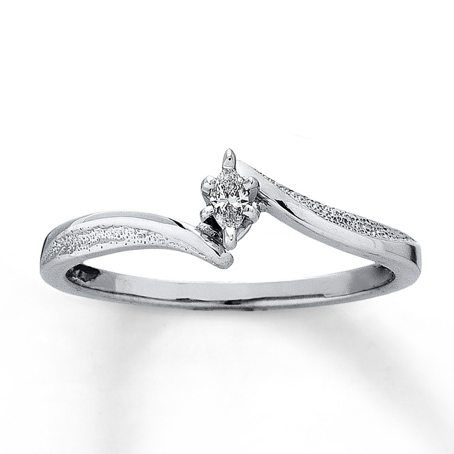 Kay Diamond Promise Ring 1 20 ct tw Marquise Cut 10K White Gold