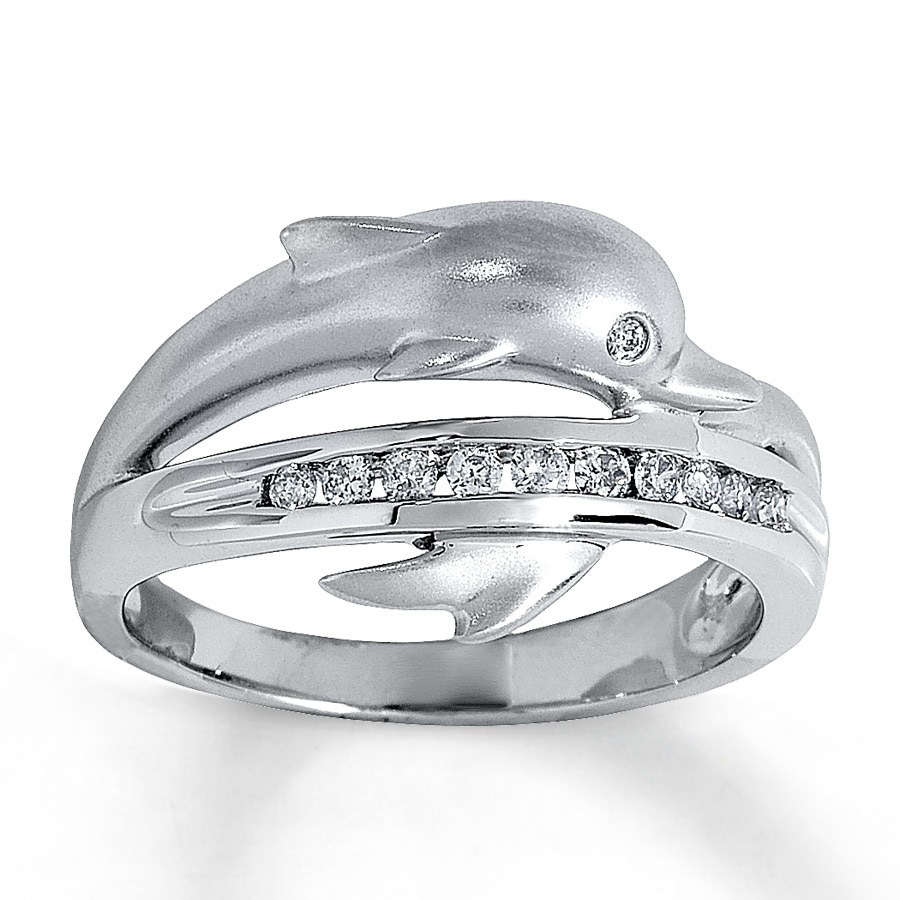 hover to zoom - Dolphin Wedding Rings