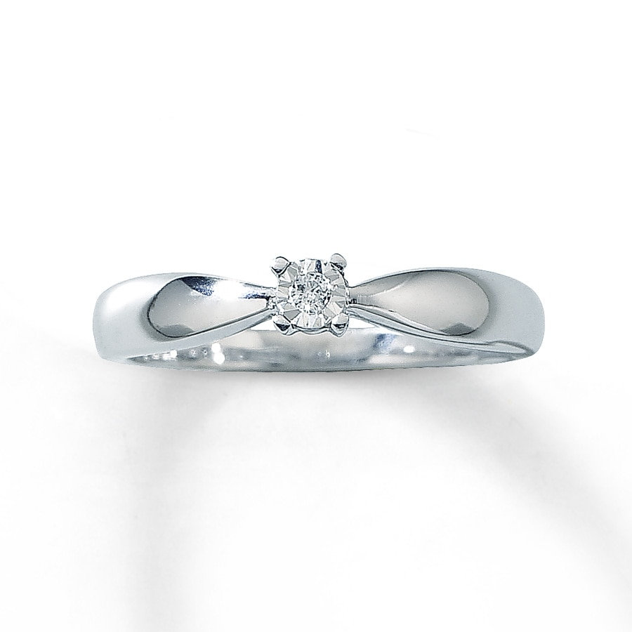 promise ring cut 10k white gold
