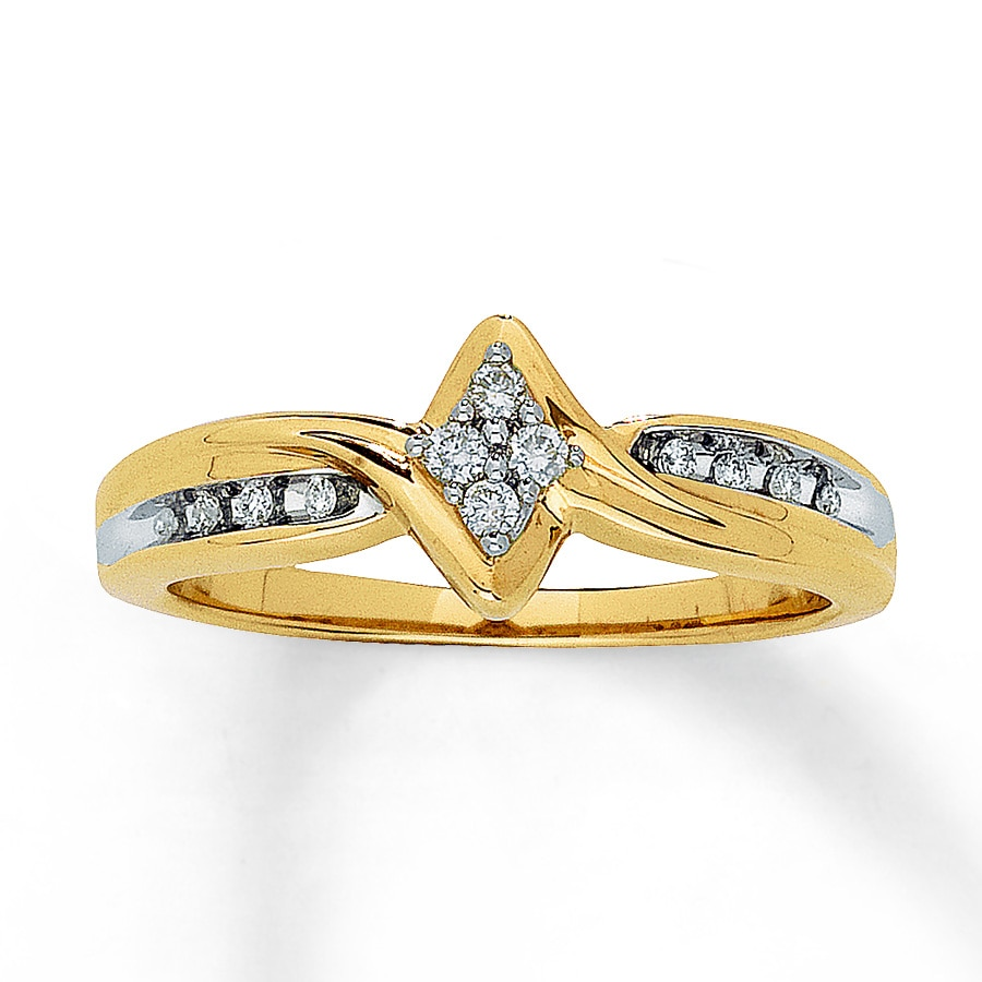 Kay Diamond Promise Ring 1 10 ct tw Round cut 10K Yellow Gold