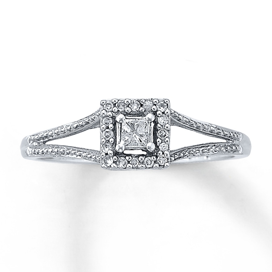 Kay Diamond Promise Ring 1 8 ct tw Princess cut 10K White Gold