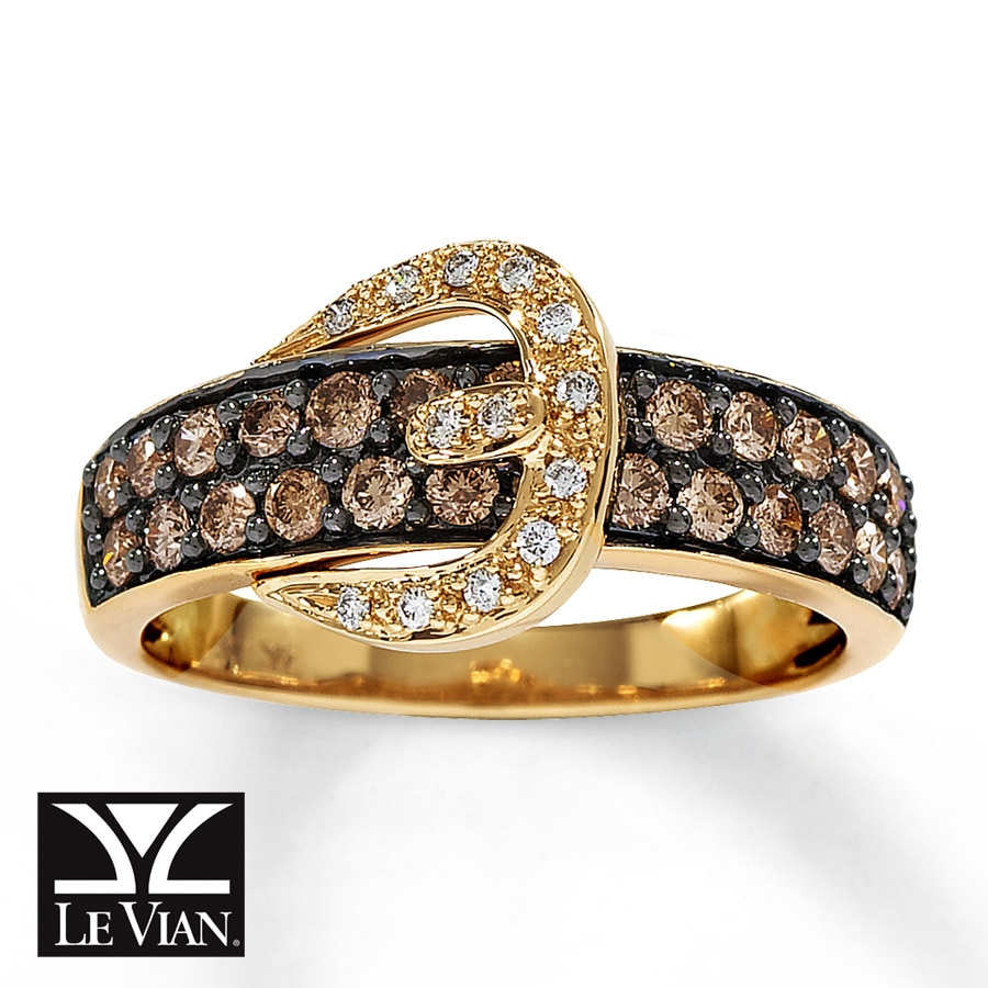 Kay Le Vian Belt Buckle Ring Chocolate Diamonds 14k