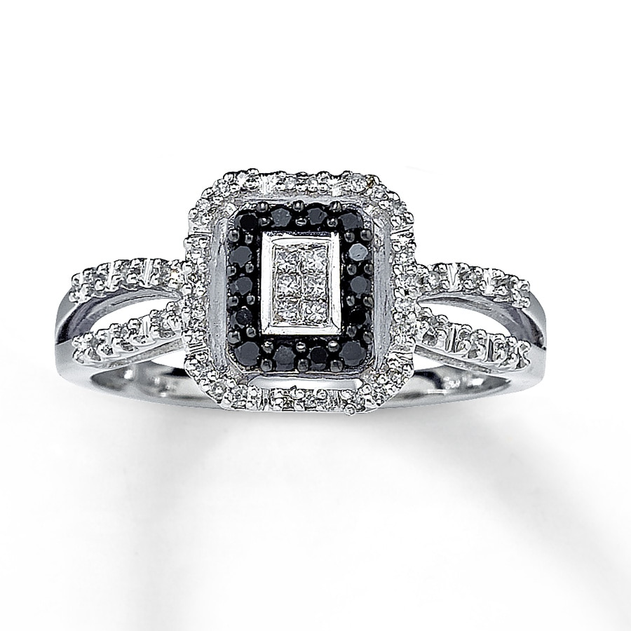 Black Diamond Ring Princess Cut 10k White Gold 22446607 Kay