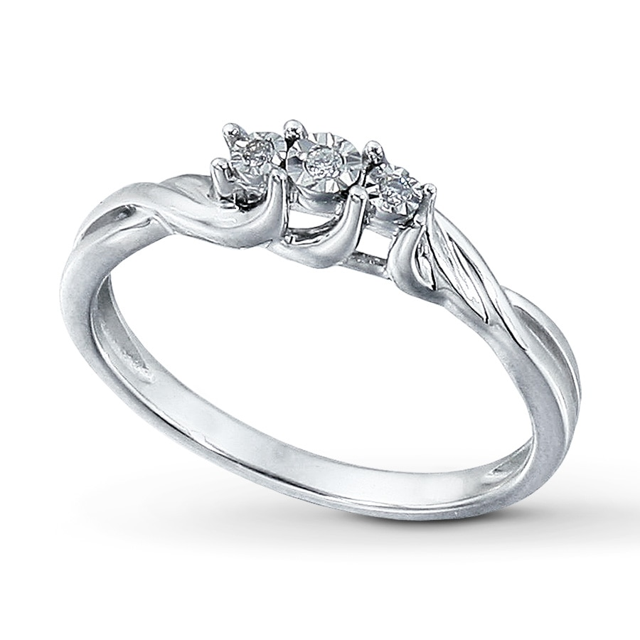 Kay Diamond Promise Ring Round Cut Sterling Silver