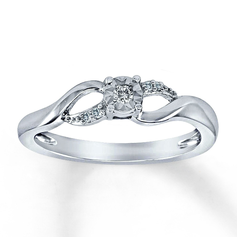 Diamond Promise Ring 1 20 Ct Tw Round Cut Sterling Silver