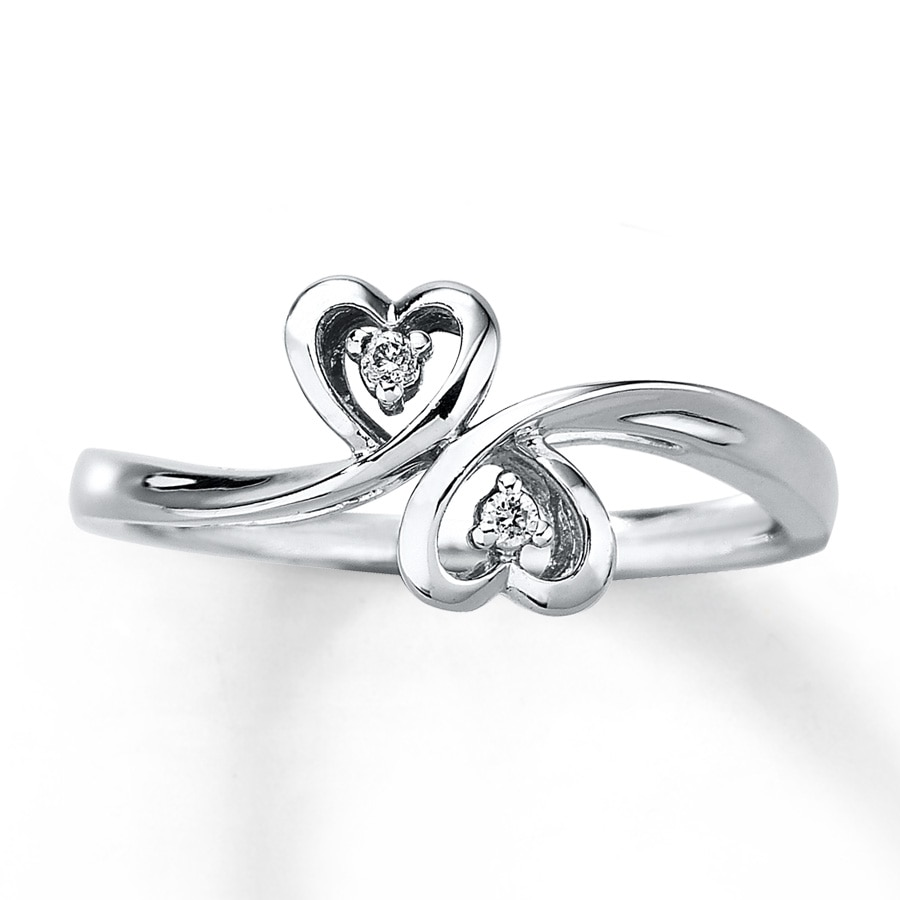 Kay Heart Promise Ring Diamond Accents 10K White Gold