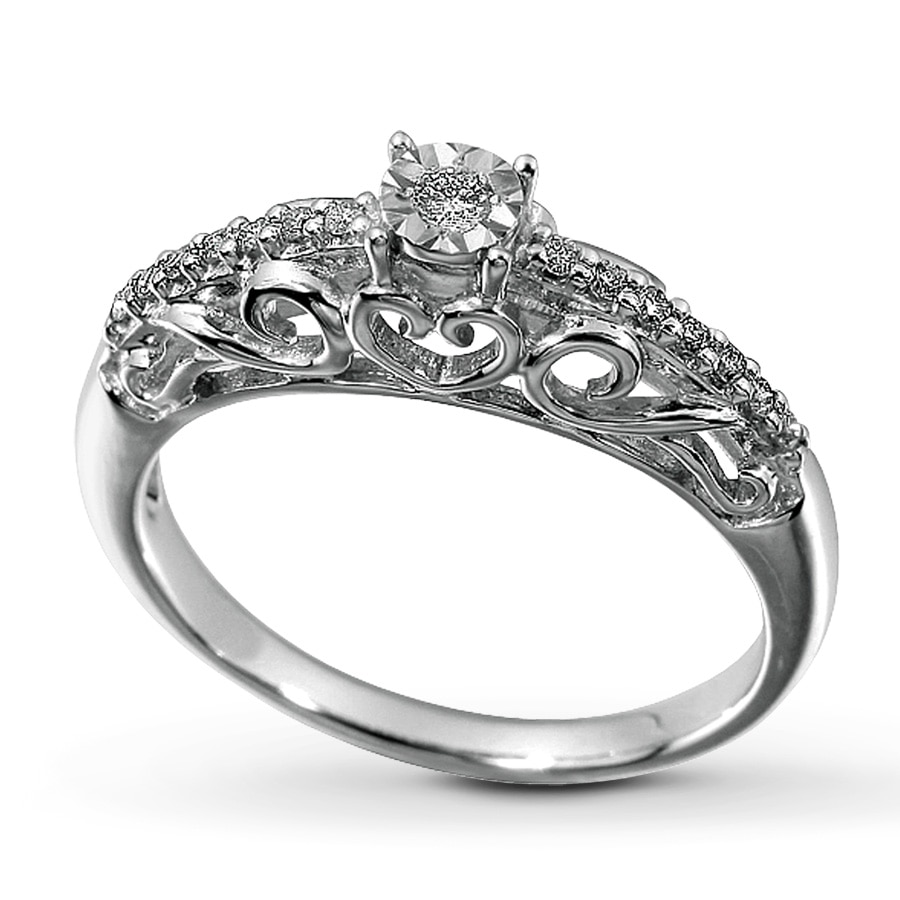 Kay Diamond Promise Ring 1 8 ct tw Round cut Sterling Silver