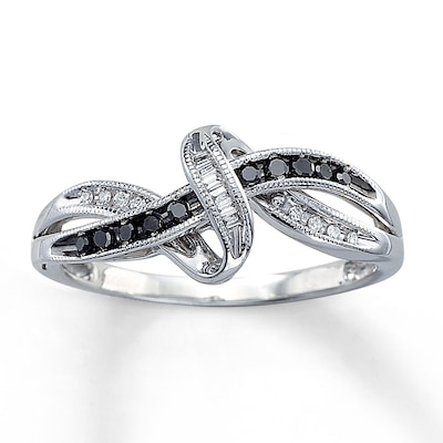 Black Diamond Ring 1/8 ct tw Baguette-cut Sterling Silver Artistry Diamonds