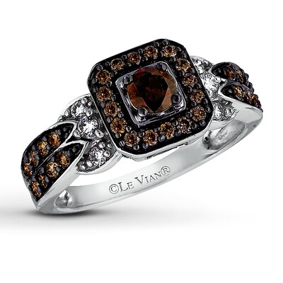 LeVian Chocolate Diamonds 3/4 ct tw Ring 14K Vanilla Gold
