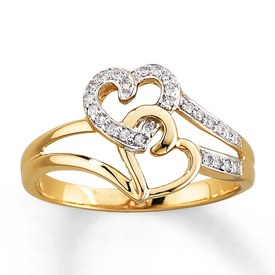 Kay Diamond Heart Ring 1 10 Ct Tw Round Cut 10k Yellow Gold
