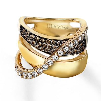LeVian Chocolate Diamonds 1-1/5 ct tw Ring 14K Honey Gold