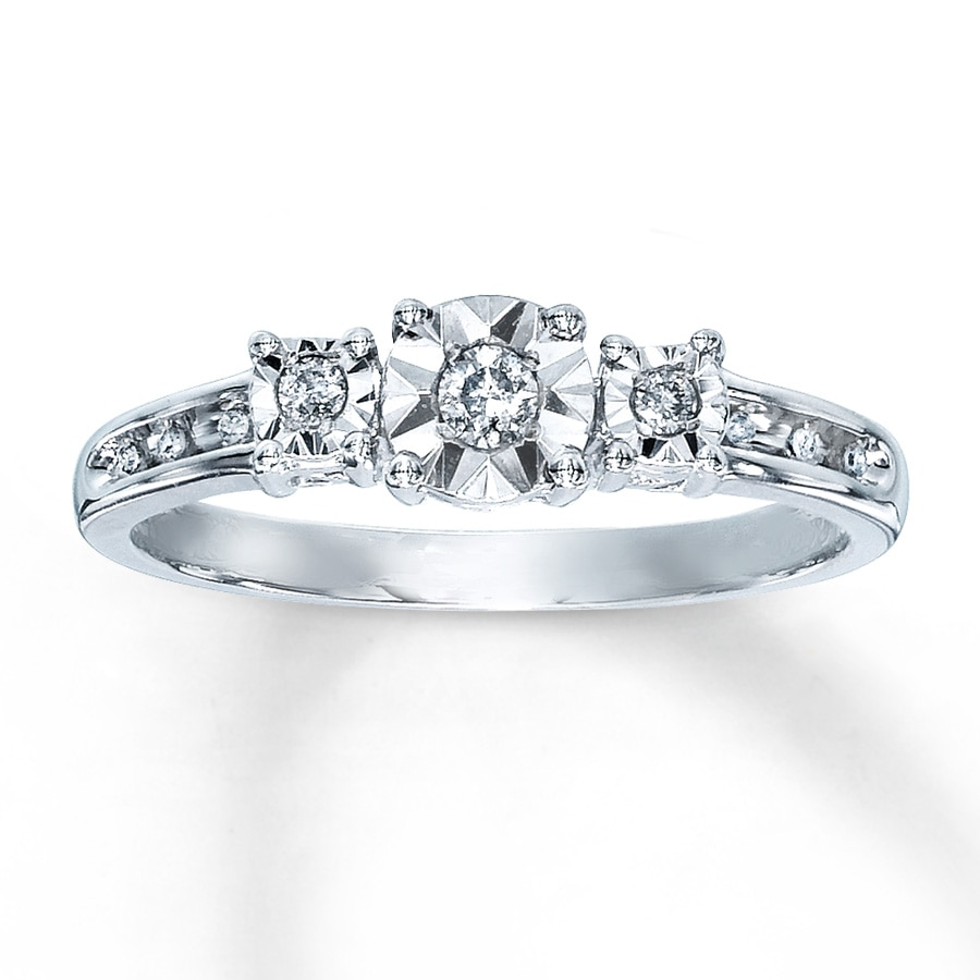 Kay Diamond Promise Ring 1 10 ct tw Round cut Sterling Silver