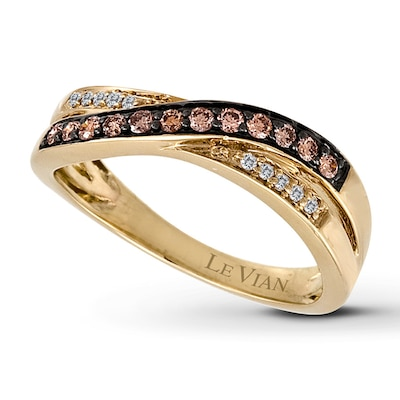 Le Vian Chocolate Diamonds 1/4 ct tw Ring 14K Honey Gold