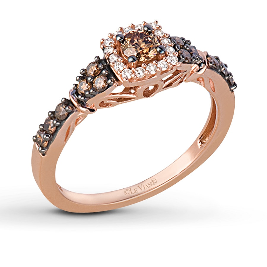 le vian expensive mens wedding bands LeVian Chocolate Diamonds 1 2 ct tw Ring 14K Strawberry Gold