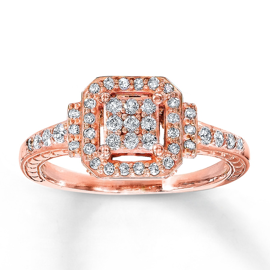 Kay Diamond Ring 3 8 ct tw Round Cut 10K Rose Gold