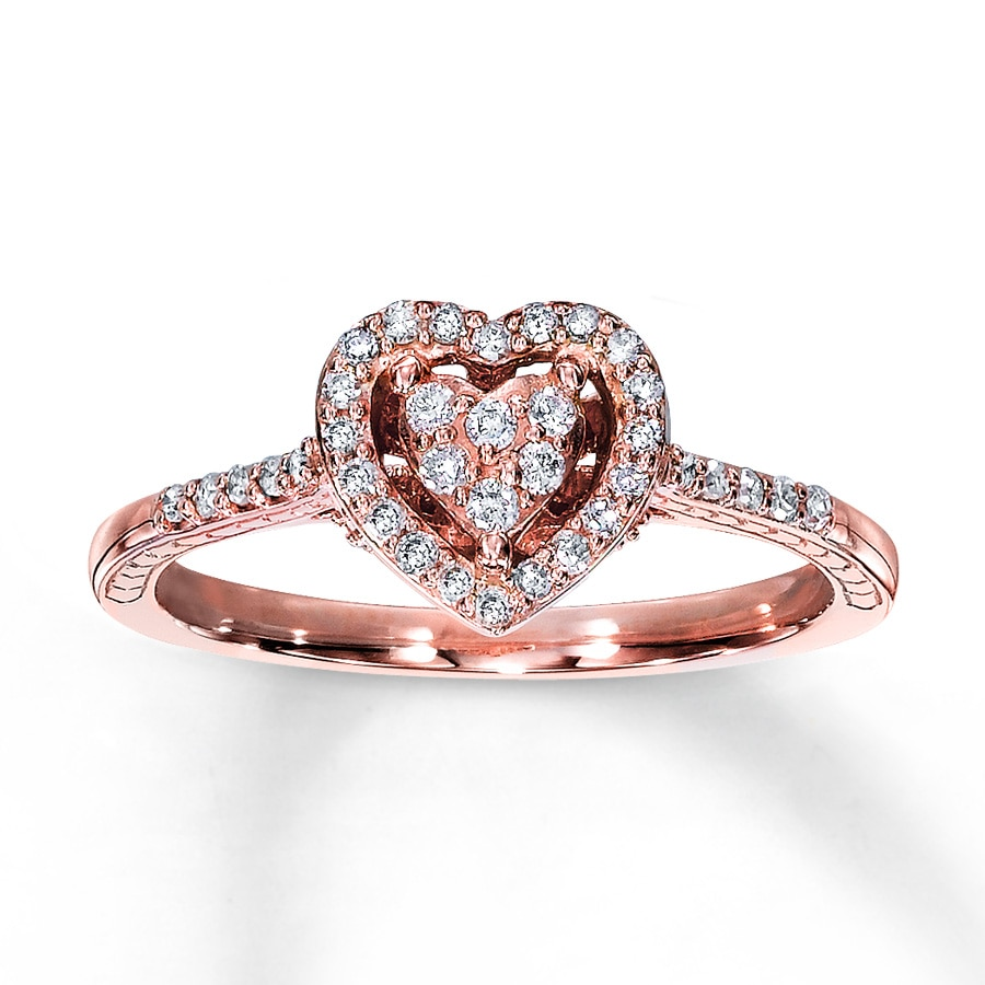 Kay Diamond Promise Ring 1 4 ct tw Round Cut 10K Rose Gold