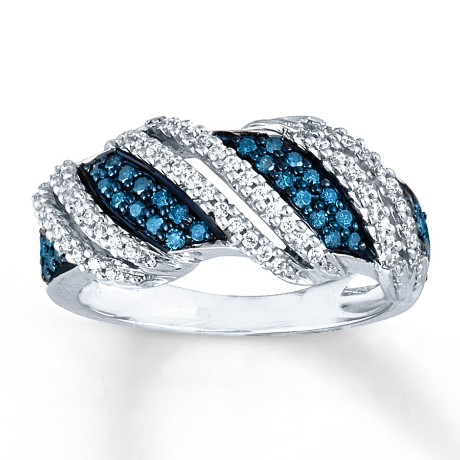 zoom tw blue kay cut kaystore ring to diamond ct round zm hover and mv white en gold