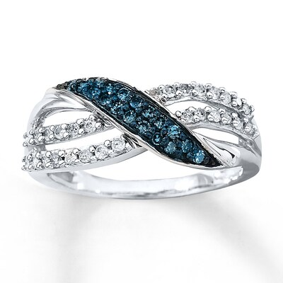Blue & White Diamond Ring 1/3 ct tw Round-cut 10K White Gold Artistry Diamonds