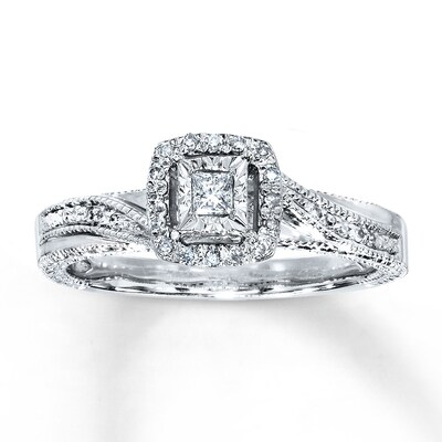 Diamond Ring 1/6 ct tw Princess-cut Sterling Silver