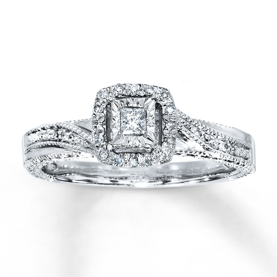 hover to zoom - Sterling Silver Diamond Wedding Rings