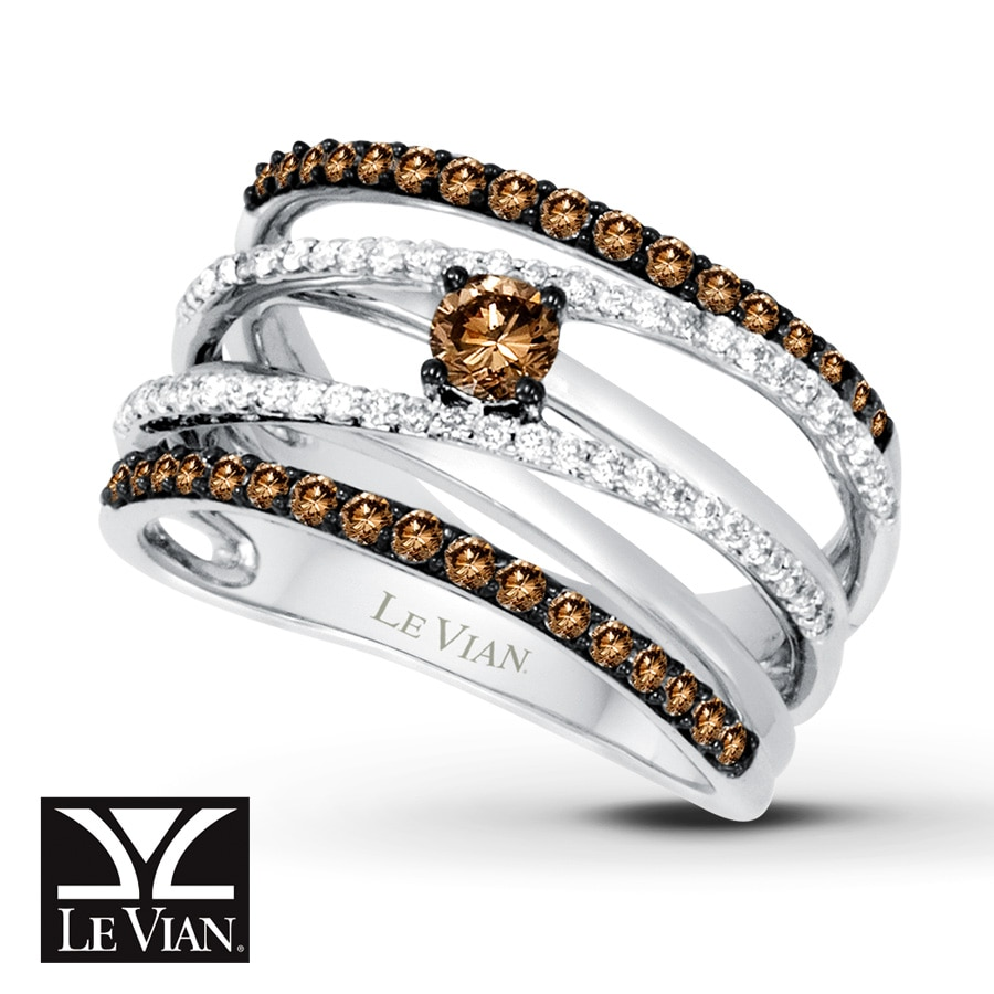 Kay LeVian Chocolate Diamonds 78 ct tw Ring 14K Vanilla Gold