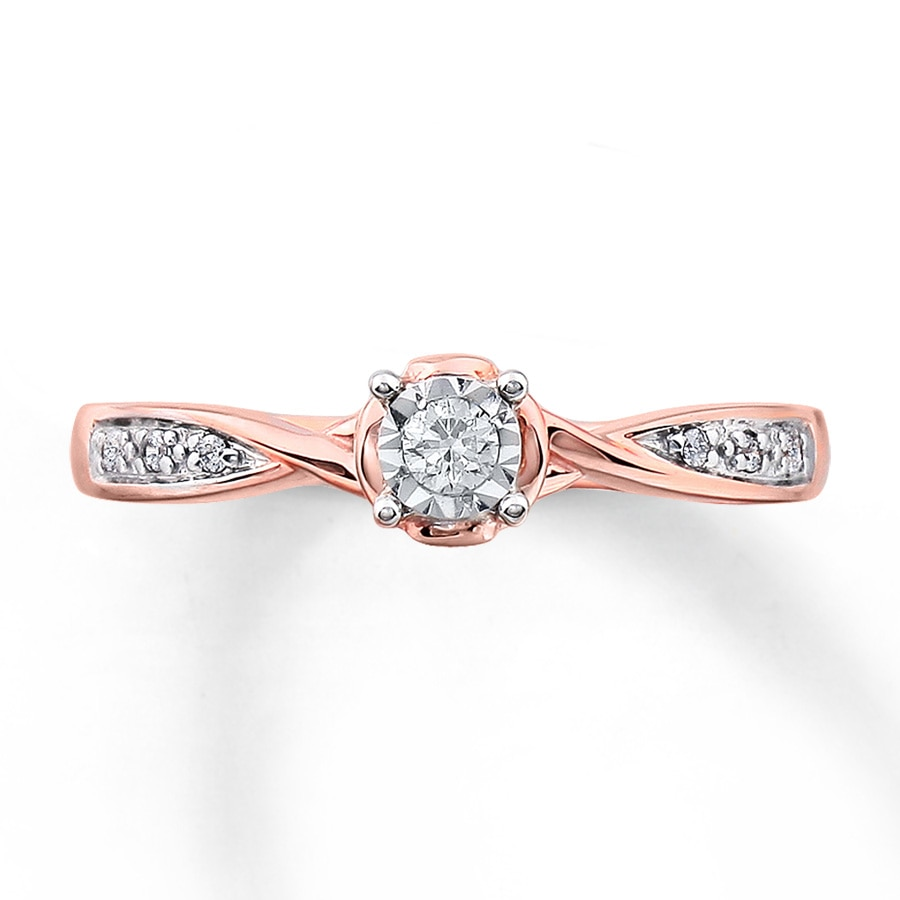 Kay Diamond Promise Ring 1 10 ct tw Round cut 10K Rose Gold