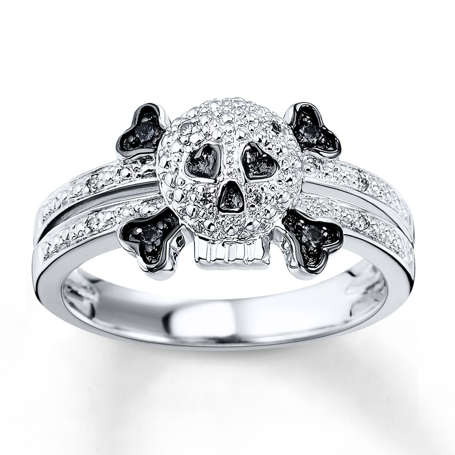 Kay BlackWhite Diamond Skull 115 ct tw Ring Sterling Silver