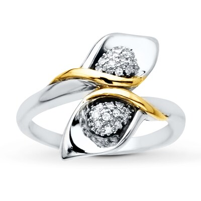Calla Lily Ring 1/10 ct tw Diamonds Sterling Silver/10K Gold