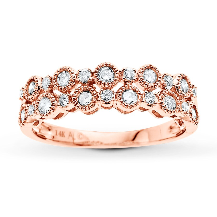 Kay Diamond Ring 1 2 ct tw Round cut 14K Rose Gold