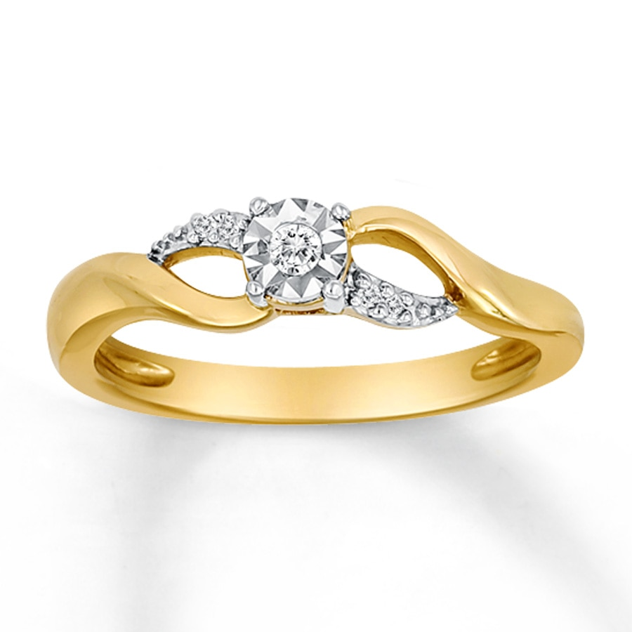 Kay Diamond Promise Ring 1 20 ct tw Round cut 10K Yellow Gold