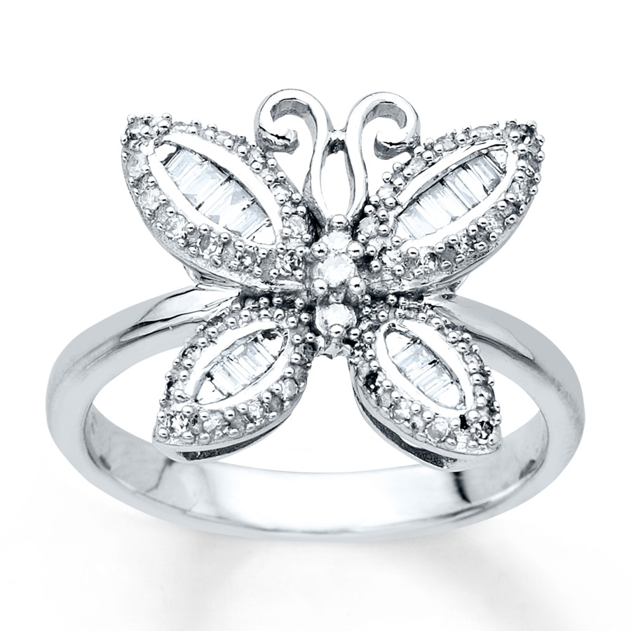 butterfly ring 1 3 ct tw diamonds 10k white gold
