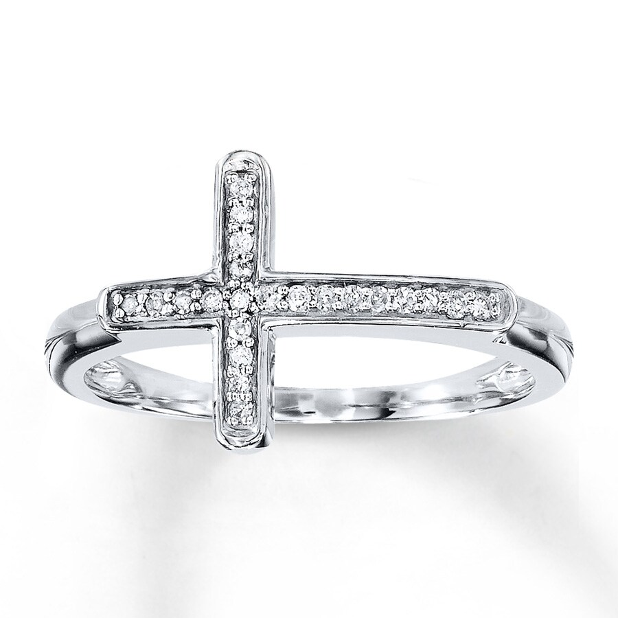 cross ring 1 15 ct tw cut 10k white gold
