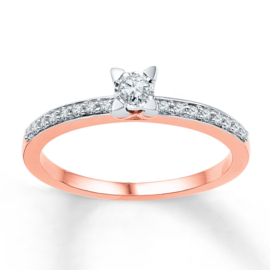Kay Diamond Promise Ring 1 6 ct tw Round cut 10K Rose Gold