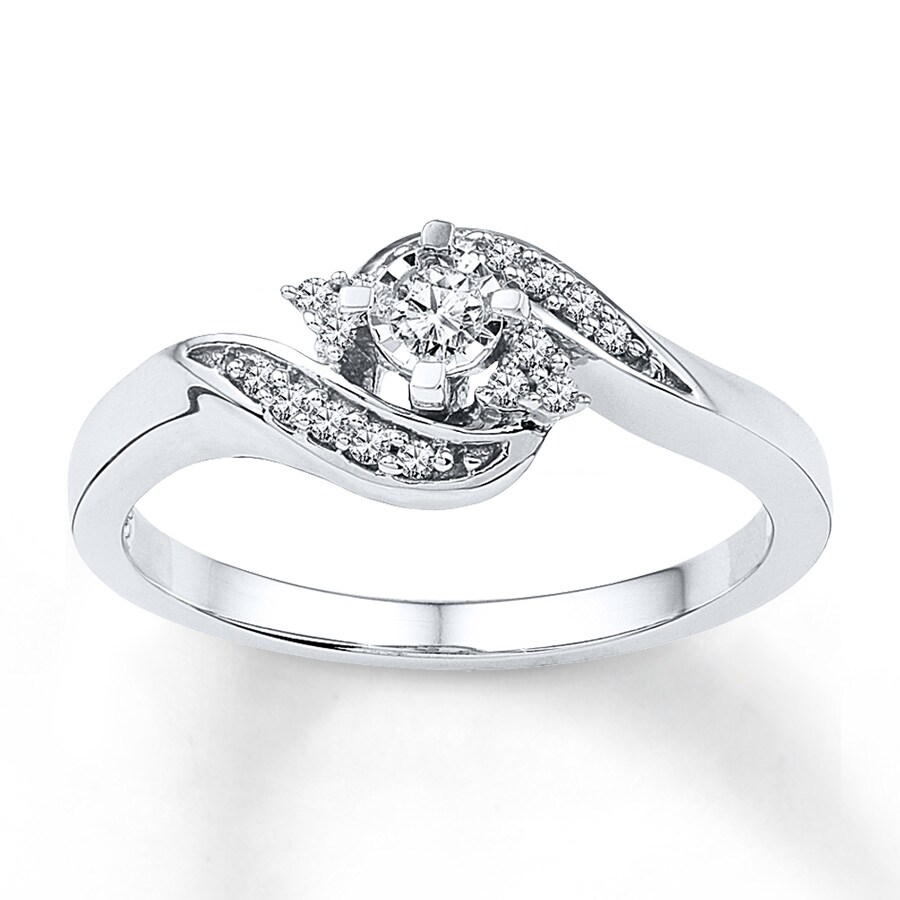 Kay Diamond Promise Ring 1 6 ct tw Round cut 10K White Gold