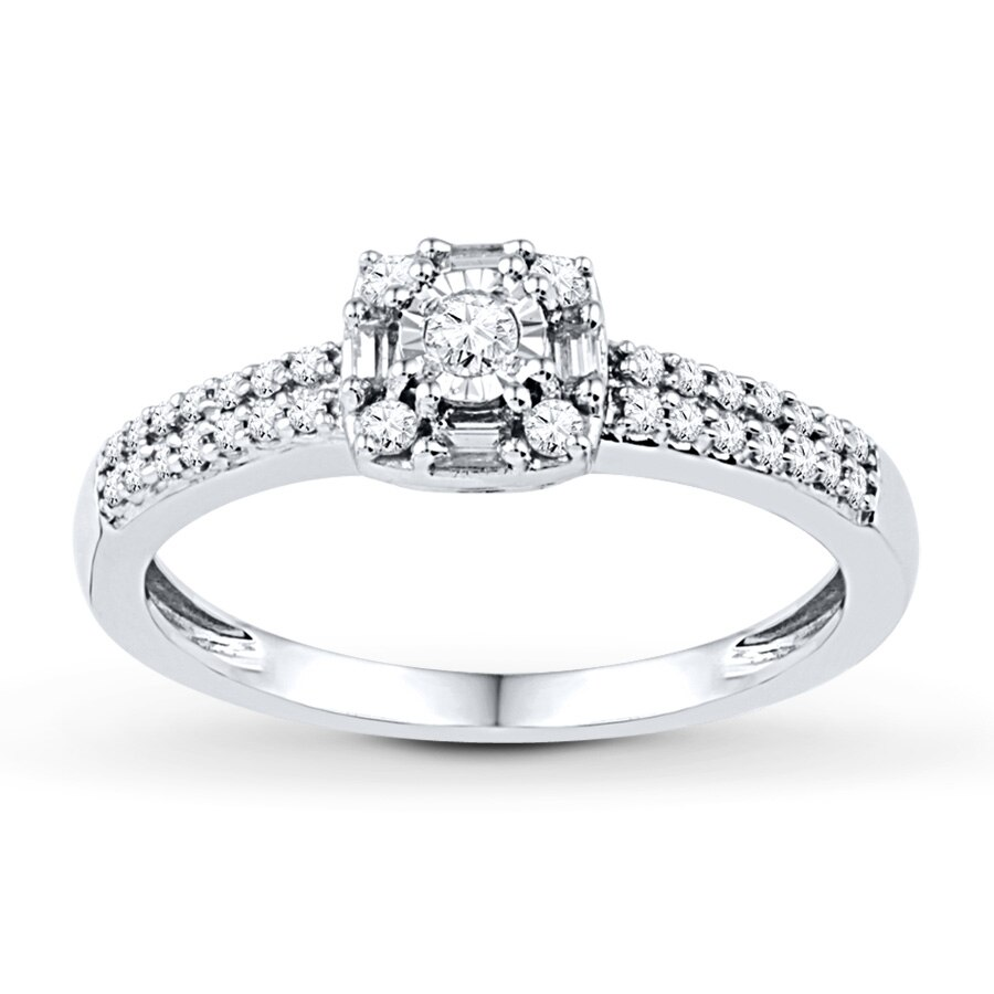 Kay Diamond Promise Ring 1 4 ct tw Round Baguette 10K White Gold