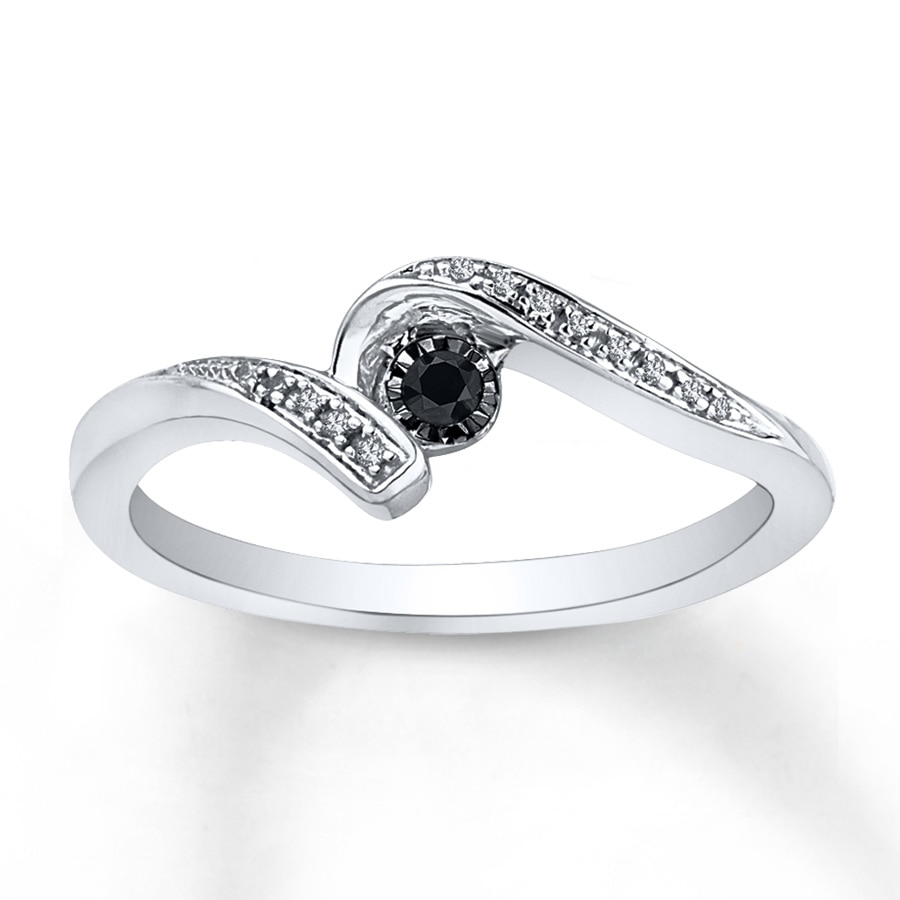 Kay Diamond Promise Ring 1 6 ct tw Black White Sterling Silver