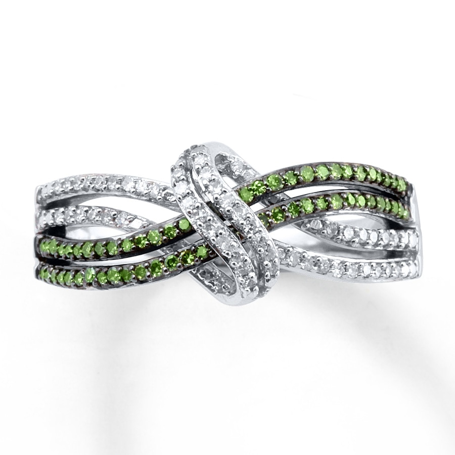 hover to zoom - Green Wedding Rings