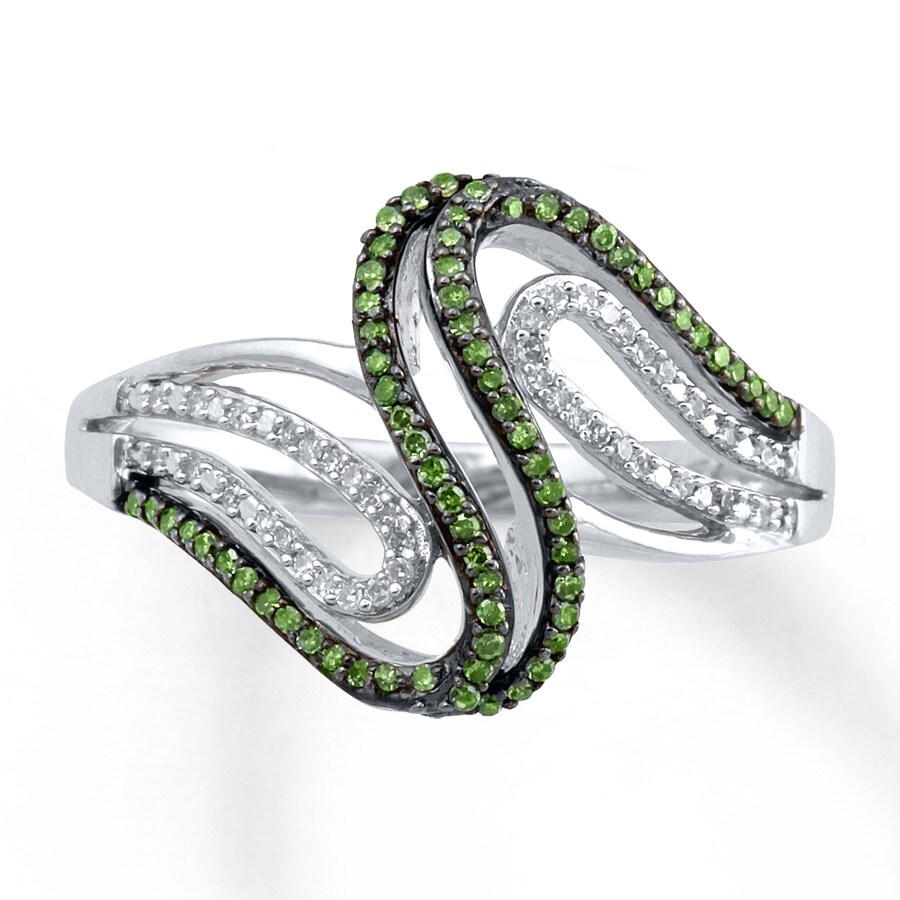 silhouette shank and in uneek platinum three ring with emerald oval rings center stone green pave