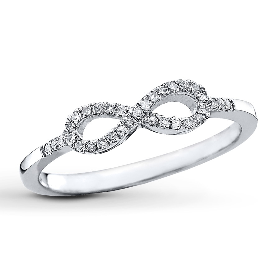 Kay Diamond Infinity Ring 1 10 ct tw Round cut Sterling Silver