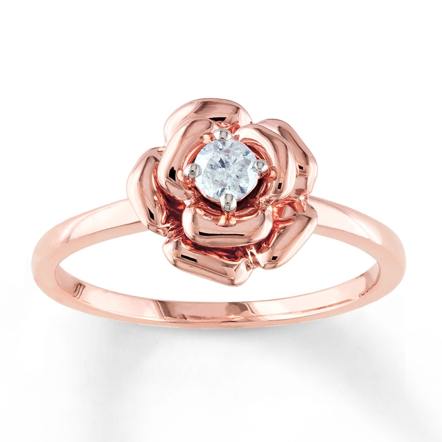 Diamond Flower Ring 1 8 Carat Round Cut 10k Rose Gold