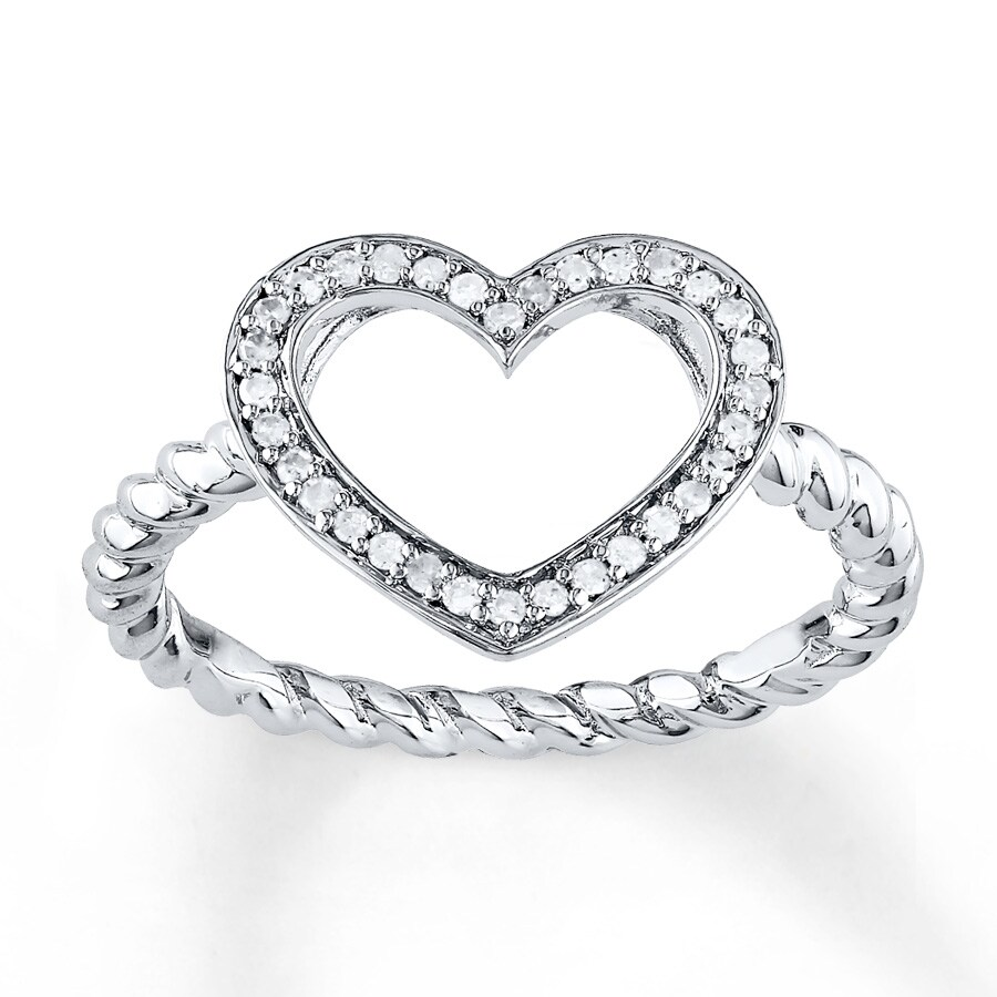 Kay Heart Promise Ring 1 8 ct tw Diamonds Sterling Silver