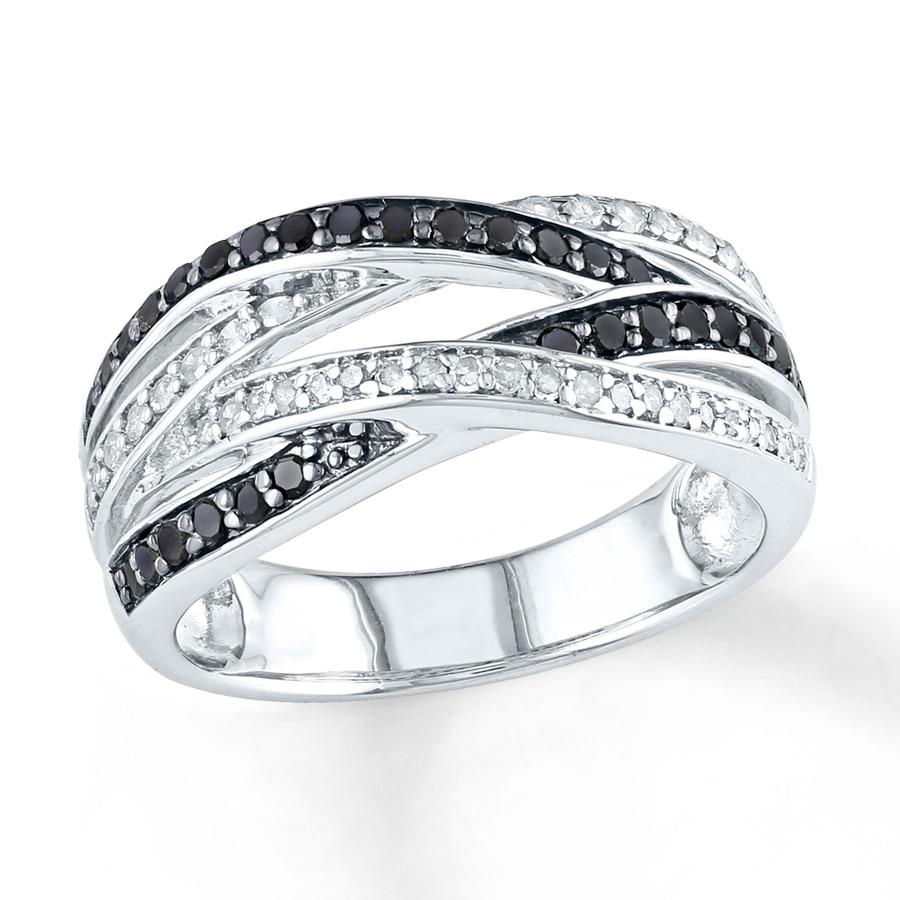 Kay Black White Diamond Ring 1 2 ct tw Round cut Sterling Silver