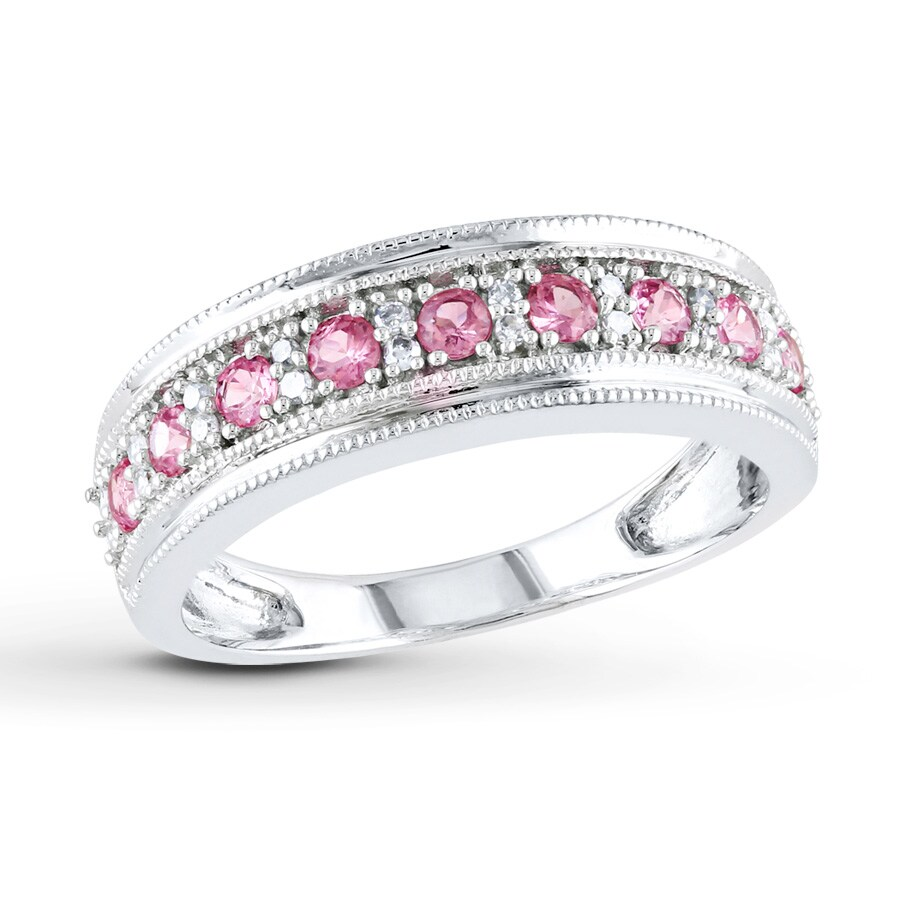 port engagement sapphire jewelers pink band diamond halo simulated the w nscd ring rings curved center cut city tina cushion created