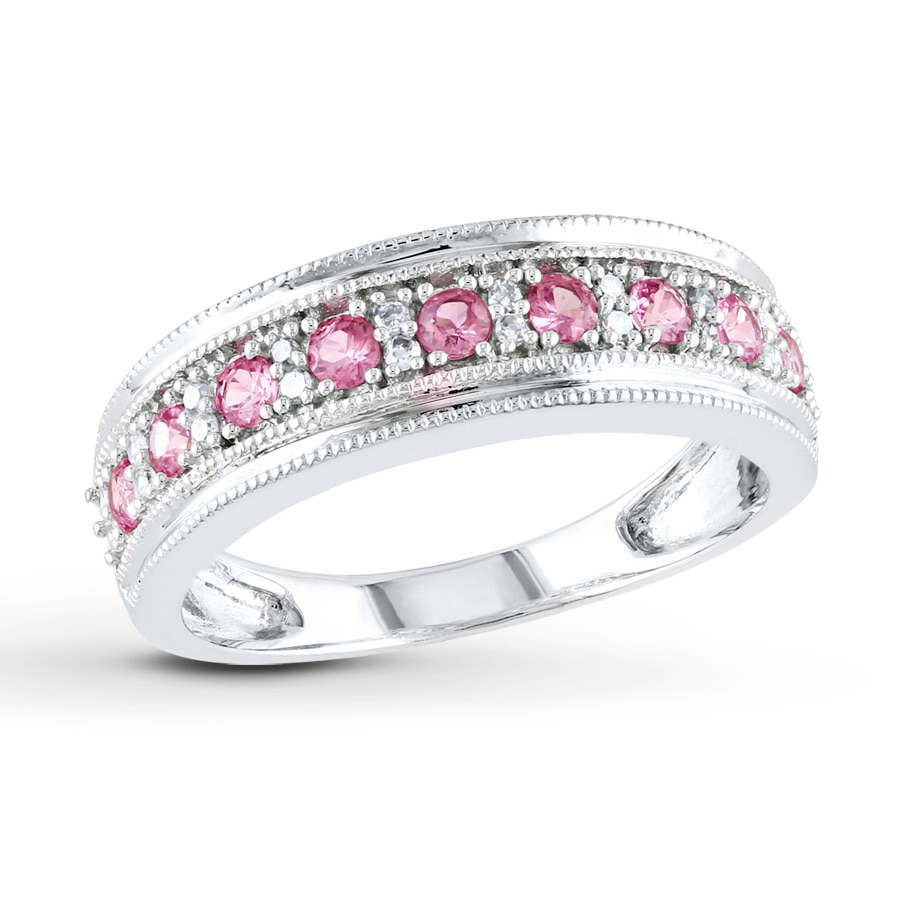 pink sapphire ring 1 15 ct tw diamonds 10k white gold