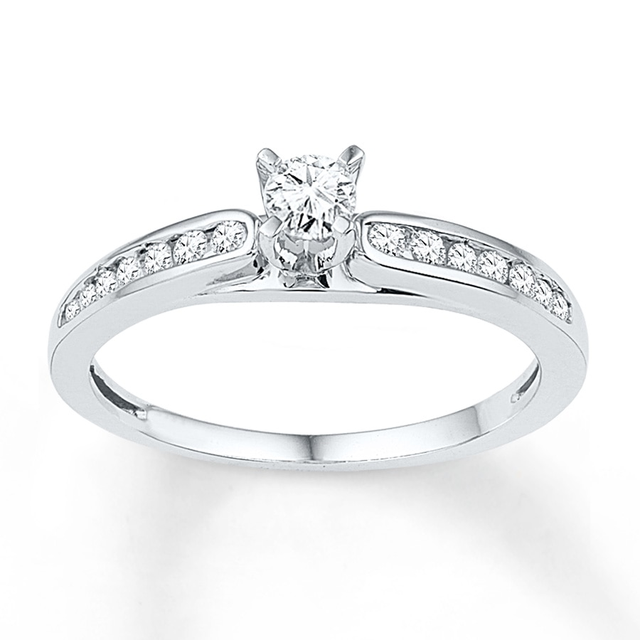 Kay Diamond Promise Ring 1 3 ct tw Round cut 10K White Gold