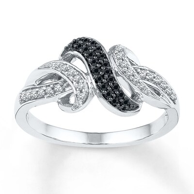 Black/White Diamond Ring 1/5 ct tw Round-cut Sterling Silver
