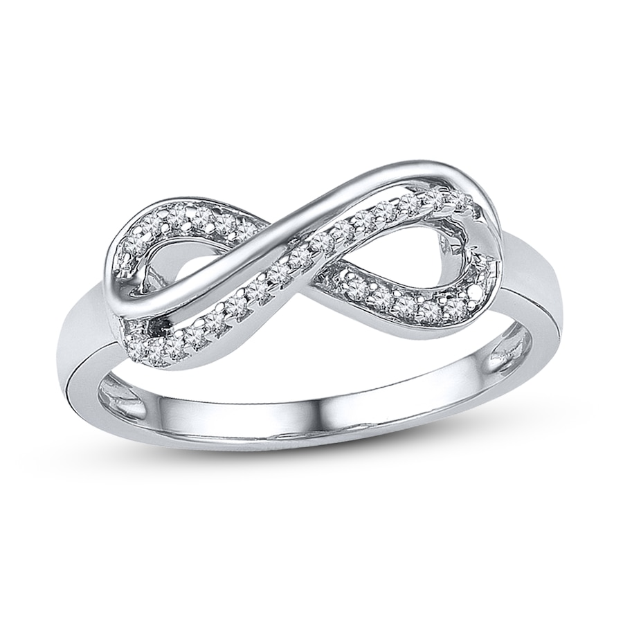 diamond infinity ring 110 ct tw roundcut 10k white gold