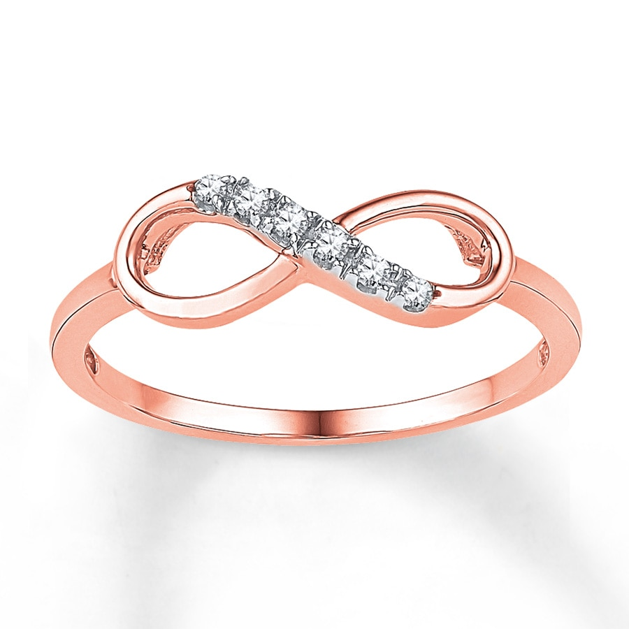 Kay Diamond Infinity Ring 1 20 ct tw Round cut 10K Rose Gold
