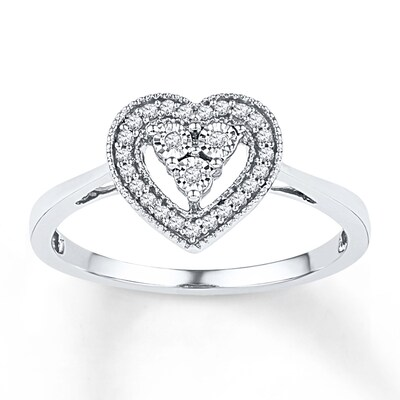 Heart Promise Ring 1/10 ct tw Diamonds 10K White Gold