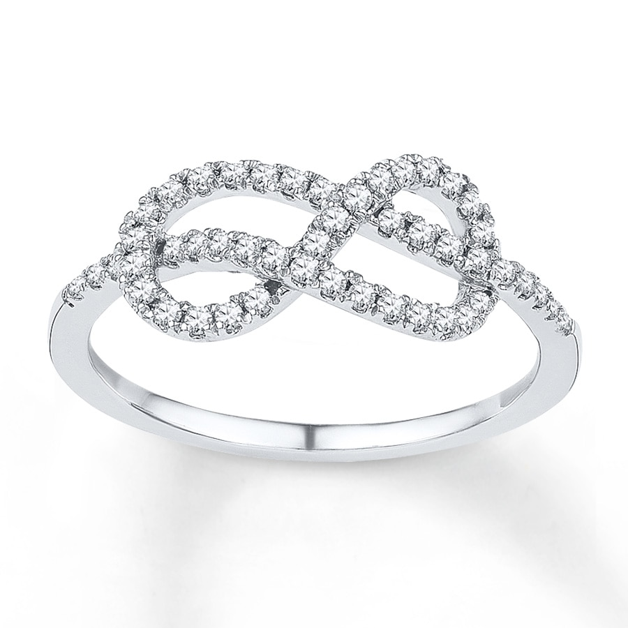 Diamond Infinity Ring 1 4 Ct Tw Round Cut Sterling Silver